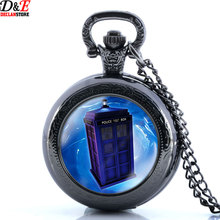 2016 New UK Television Doctor Who Tardis Police Box Vintage Pocket Watch Chain Necklaces Pendants  Free Shipping