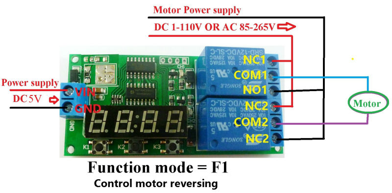 DC5V 2 Channel Multi-function Delay Cyclic Timer Relay Control Motor ...