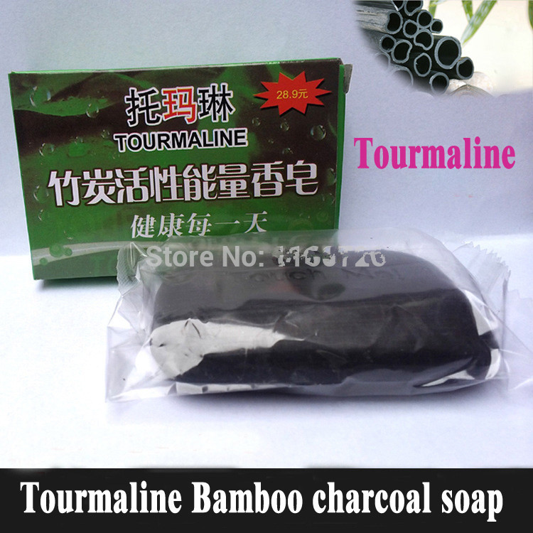 Promotions Tourmaline Soap/Bamboo Charcoal Soap/face & Body Beauty Healthy Care/Free Shipping 2015 Hot Sale Special offer 2PCS(China (Mainland))