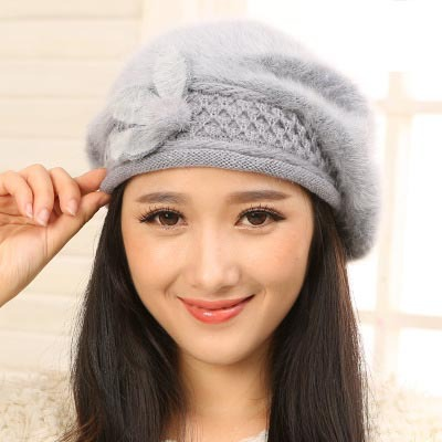 2015 new winter warm hats & caps for women berets rabbit hair casual caps fashion All-match Stewardess hats Support wholesale(China (Mainland))