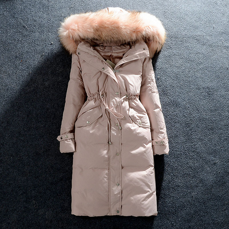 Fashion 2016 Women's Fur Hooded Down Coats Long Solid Zipper Slim Thick Full Sleeve Down Parka Coat White Duck Down Plus Size