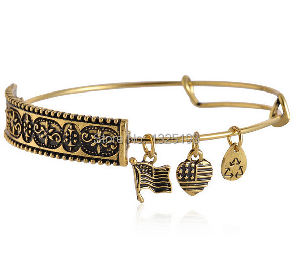 Trendy jewelry women bangle expandable bracelet big brand bracelets popular alloy beads DIY charm gold plated bangles(China (Mainland))