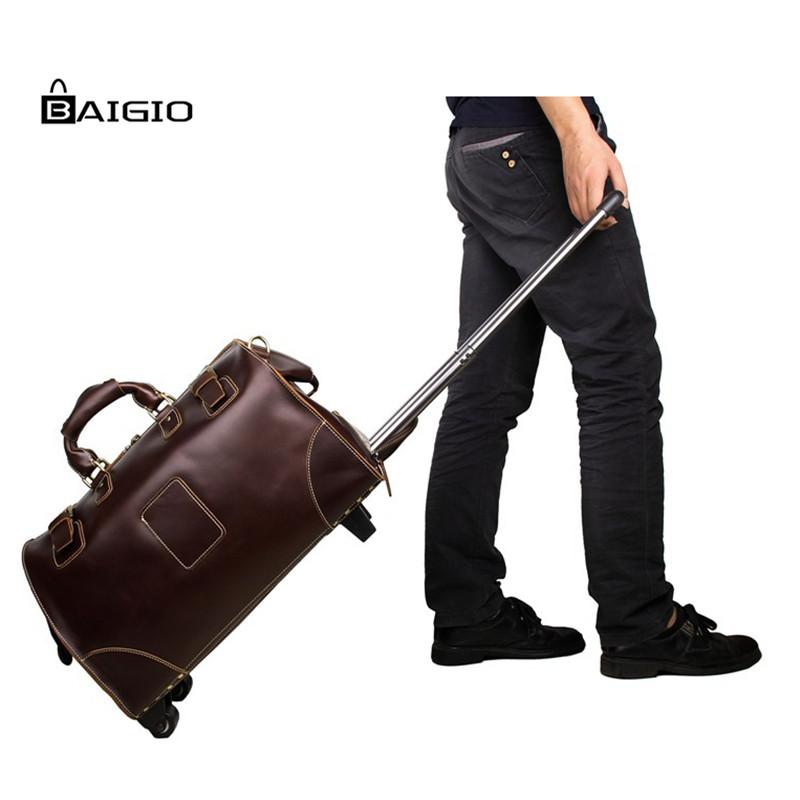 Baigio Mens Leather Travel Bag Overnight Duffle Rolling Luggage Designer Large Capacity Shoulder Bag Carry On Hand Luggage(China (Mainland))