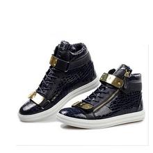 Giusep Men Shoes Fashion Metal Sequins Men Casual Shoes High Top Leather Men Flats GZ Zapatos Hombre(China (Mainland))
