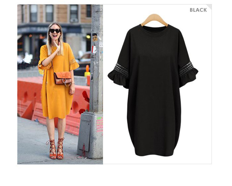 Europe Style Big Sizes 5XL Dresses 2017 New Summer Dress Solid Color Round Neck Loose Speaker Sleeves Dress Women Clothing AH255