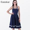 Clocolor 2016 Women Vintage Dresses Summer spring Elegant Dark blue red Sleeveless Rockabilly Club Party Dresses