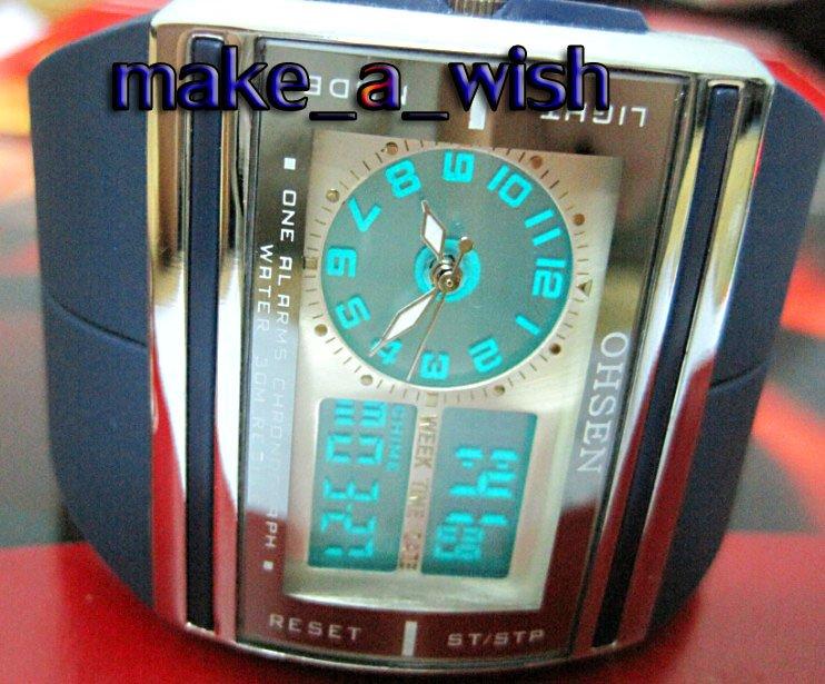 Wholesale 3 pcs/lot OHSEN LCD DIGITAL ANALOG DATE/WEEK/ALARM MEN STOP BLACK SPORT WATCH Dark Blue 0518-2(China (Mainland))