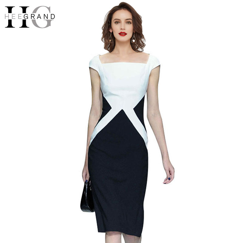 hee grand summer new plus size geometric slim sheath work dress short puff sleeve square