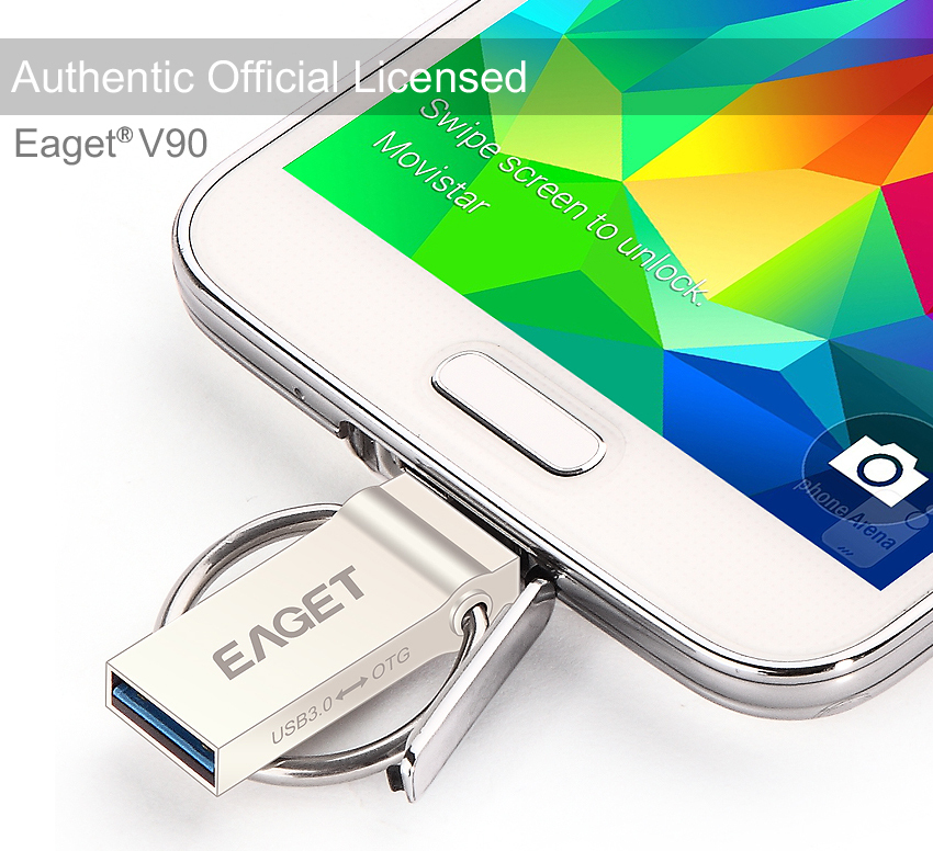 EAGET Official V90 32gb 64gb USB Flash Drive USB 3.0 OTG Smartphone Pen Drive Micro USB Portable Storage Memory Metal USB Stick(China (Mainland))