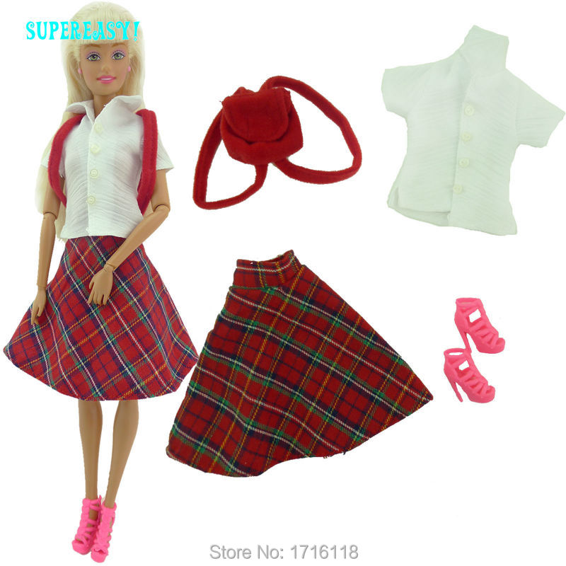 Fashion Daily Outfit T Shirt Skirt font b Tartan b font Design British Preppy Style Bag