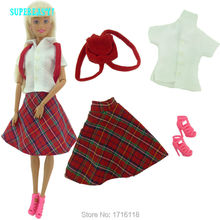 Fashion Daily Outfit T-Shirt Skirt Tartan Design British Preppy Style Bag Shoes Clothes For Barbie Doll Kurhn FR 11.5″ 12″ Gift