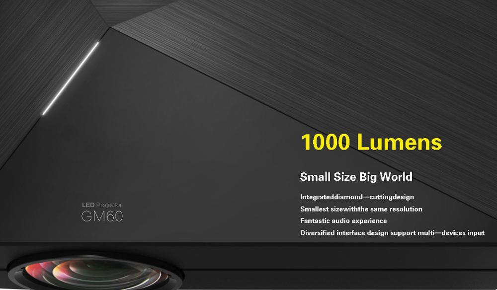 ถูก เดิมGM60ราคาถูกโปรเจ็กเตอร์ขนาดเล็ก1000 Lumens 1920x1080วิดีโอUSB VGA SDโฮมวิดีโอจีเอ็ม60 HDMI