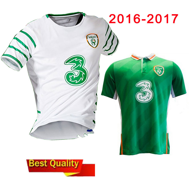 16 17 Republic of Ireland soccer jersey Ireland away white shirt home green jerseys shirts top thai quality t shirts(China (Mainland))