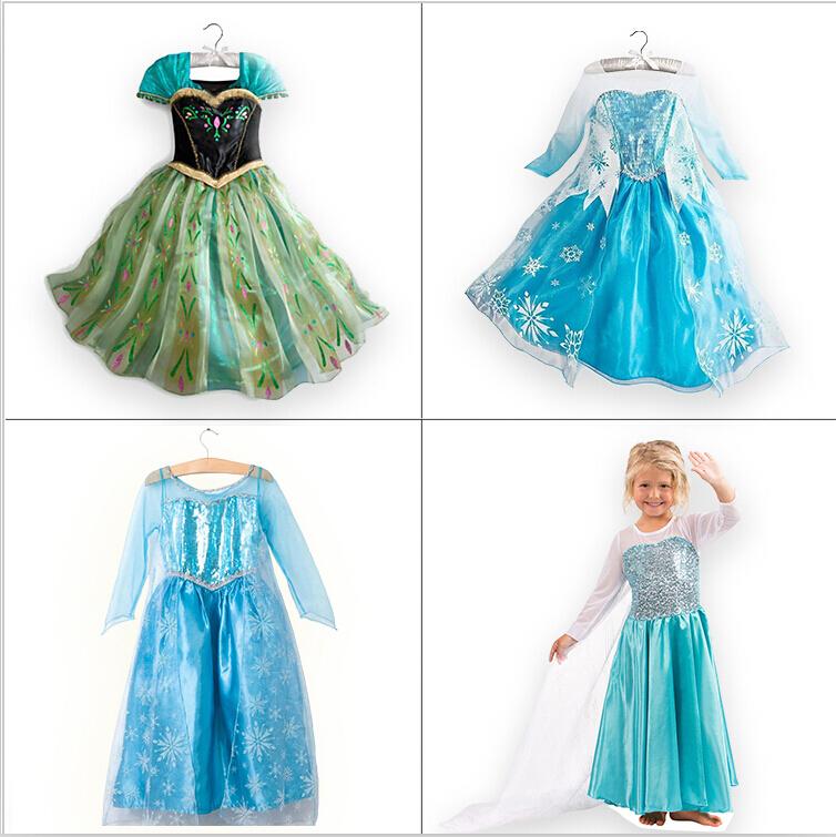 1pc children dress Girl Princess Dress Elsa Anna dress Summer longsleeve diamond dress Costume, many designs in our store(China (Mainland))