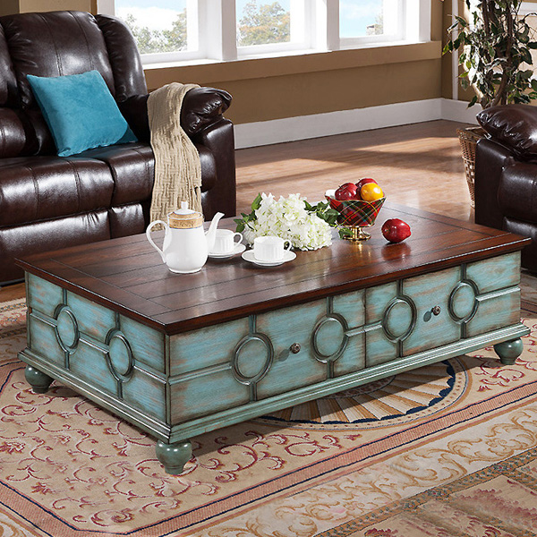 antique age finish style and exquisite workmanship American style solid wood rectangle coffee table(China (Mainland))
