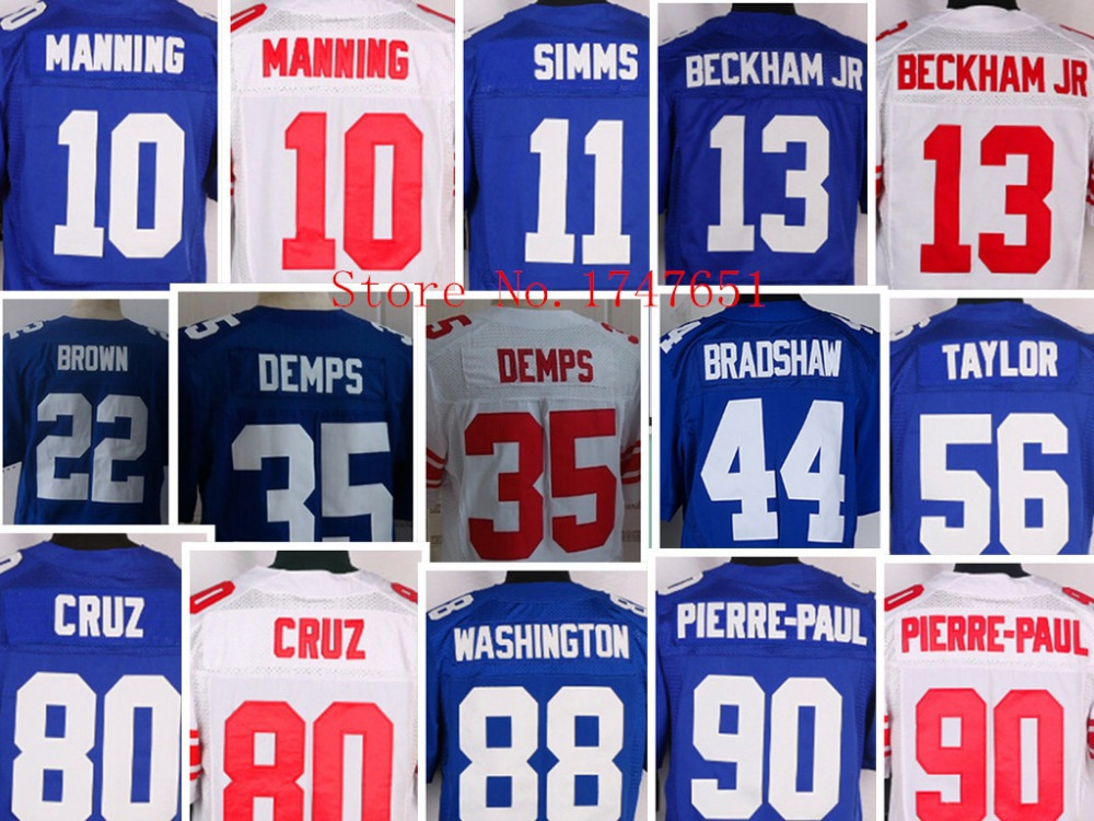 #10 Manning 11 Simms 13 Beckham jr 35 Demps 44 Bradshaw 56 Taylor 80 Cruz Men New Elite Football Jerseys Cheap Sale wholesale!(China (Mainland))