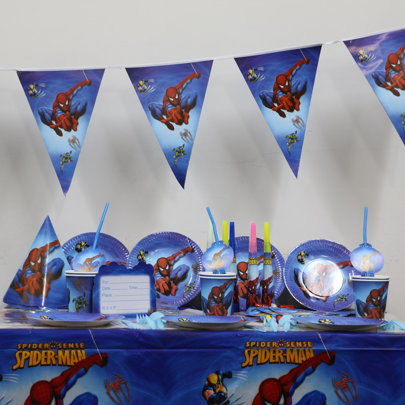 spiderman cartoon kids boys birthday decoration paper plates +cups +flags + tablecloth party supplies 26pcs/lot for 4 people(China (Mainland))