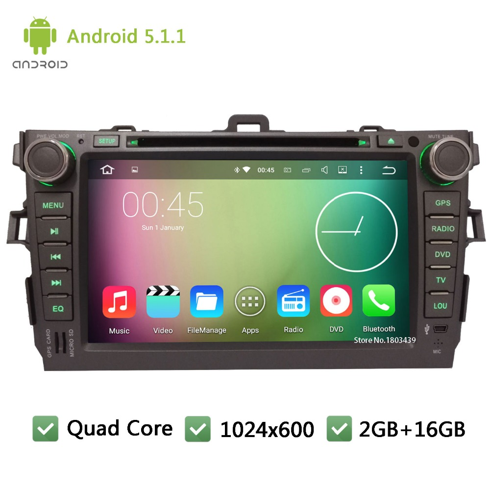 "Quad core WIFI Android 5.1.1 2Din 8"" FM BT 1024*600 Car DVD Player Radio Stereo PC Audio Screen GPS For TOYOTA Corolla 2006-2011(China (Mainland))"