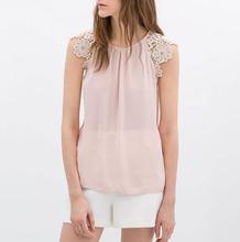 Women summer lace sleeve blouses chiffon O neck sleeveless Shirt blusa feminina casual slim brand designer tops ST1999(China (Mainland))