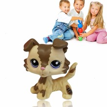 2017 New Baby Littlest Pet Shop LPS Tan Brown Black Gray Short Hair Cat Dog Toy For Baby Children(China (Mainland))