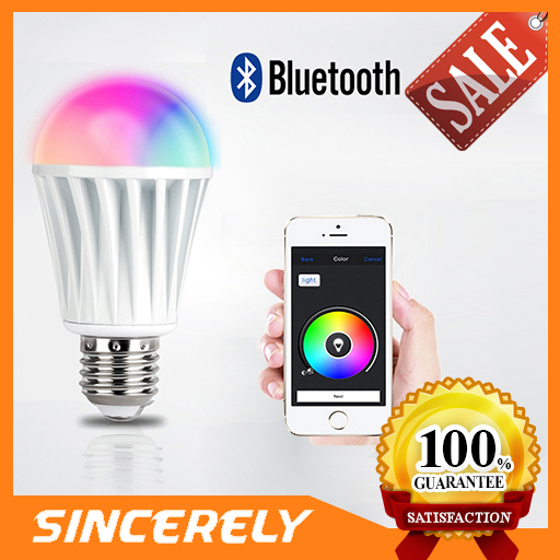Top Selling iOS App/Android4.3 Wireless Bluetooth Light RGBW Color Magic Dimmer LED Smart Bulb 7W Led Bluetooth Lamp (BS384)(China (Mainland))