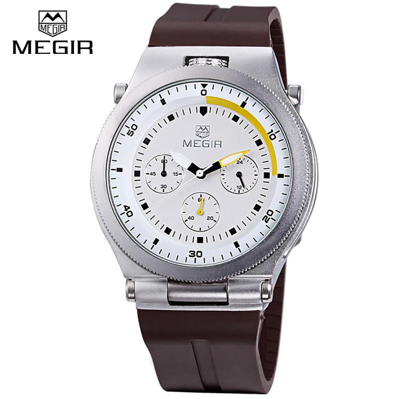 Megir Luminous Chronograph 6 Hands Sports Watches Men Waterproof Silicone Band Fashion Casual Quartz Wrist Watch Relogio masculi<br><br>Aliexpress