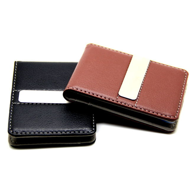 Fashion 2Colors Black Brwon Men Slim Money Clip Leather Billfold Stainless Steel Clips Luxury Men Wallets