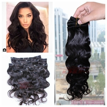 Fashion brazilian body wave clip in hair extensions 8pcs/set brazilian hair clip in extension 8-30inch 120g black hair extension(China (Mainland))