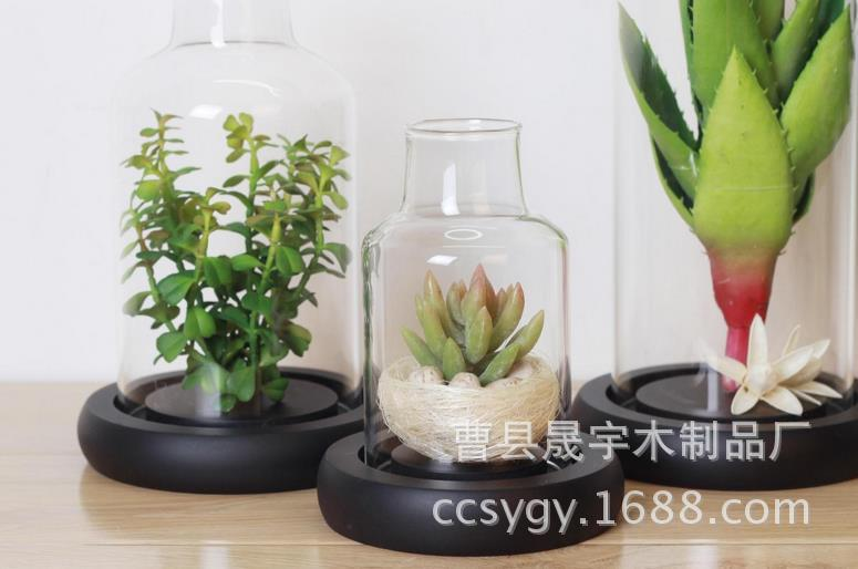 Manufacturers wholesale high-grade base MDF wood care immortal flower glass candle holder tray(China (Mainland))