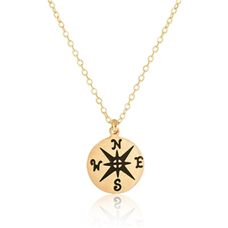 N00237 Women Men Stainless Steel Vintage Jewelry Gold Silver Plated Friendship Gift Dainty Tiny Round Compass Charm Necklace(China (Mainland))