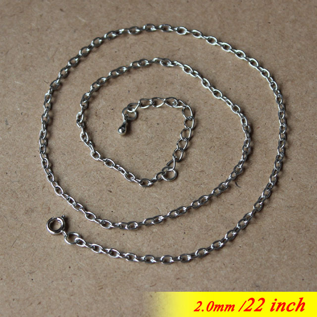 Metal 2mm Jewelry Cable Links Chains With Round Clasps End Extenders Drops 22 Rhodium Sterling For Pendants diy Findings<br><br>Aliexpress