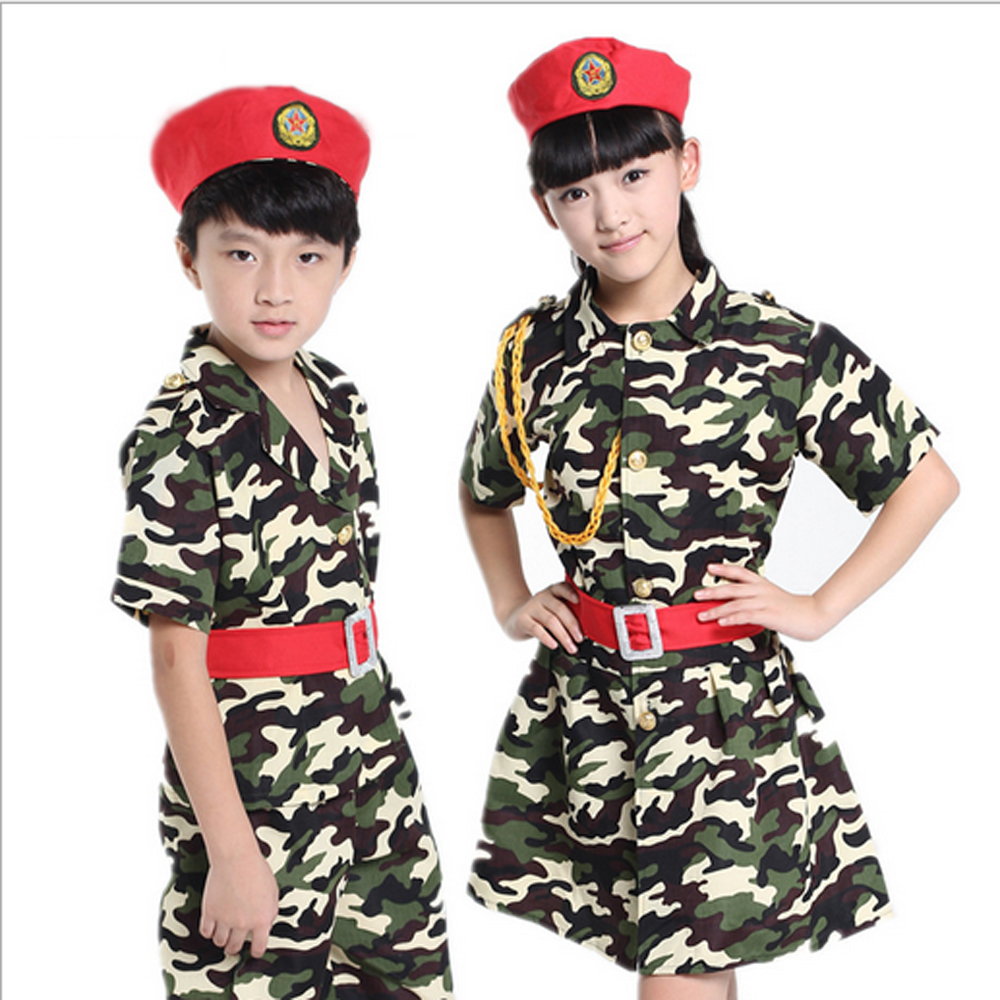 Children's costumes camouflage clothing dance dancing apparel chorus small primary school children military uniform - Children Performance Clothing store