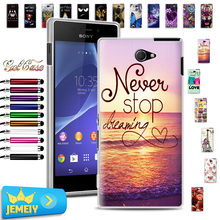 Sony Xperia XA E3 E5 M2 Aqua D2206 F3311 F3313 S50H D2302 Printed Soft TPU Case Cover Tempered Glass - jemeiy second store