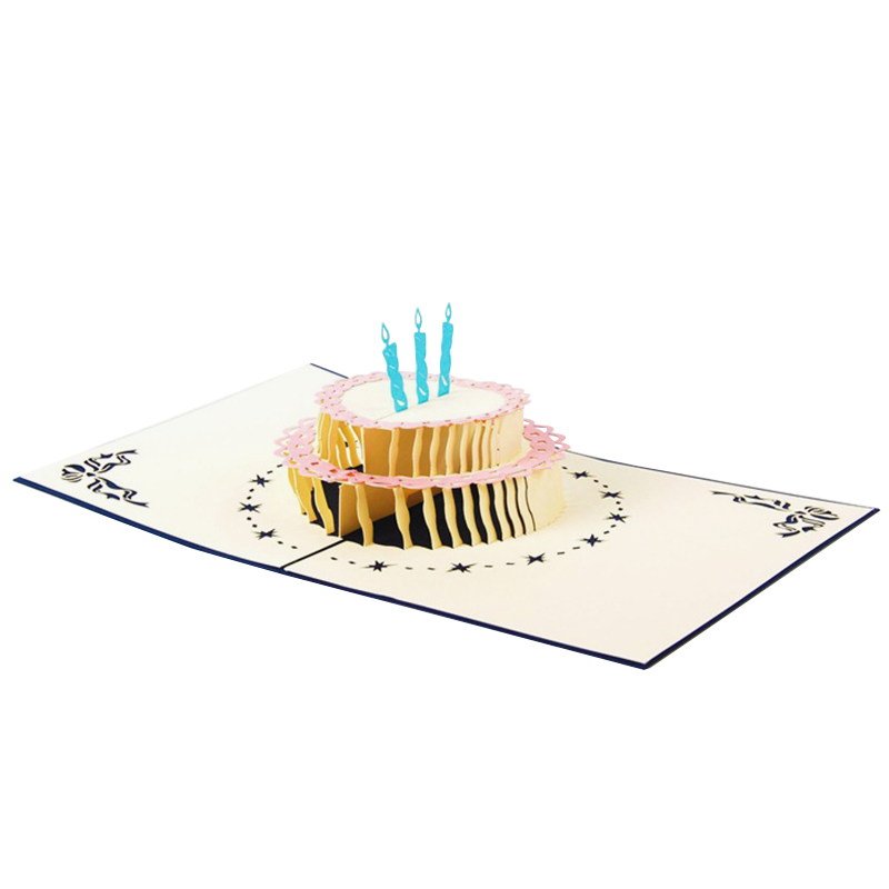 New Arrival Papercraft Pop-Up 3D Birthday Cake Birthday Cards by id-Birthday Cards Free Shipping(China (Mainland))