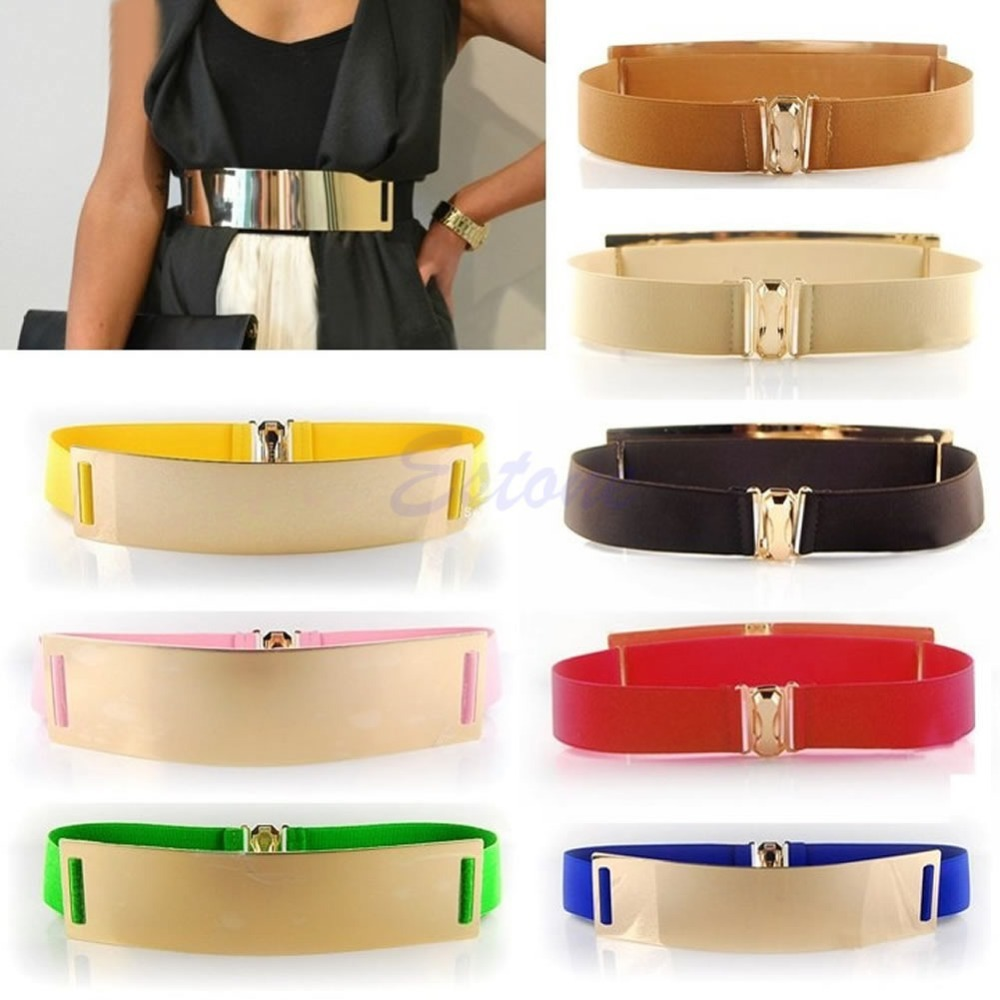Sexy Bling Gold Metal Metallic Mirror Plate Wide Waist Stretch Elastic Belt Band