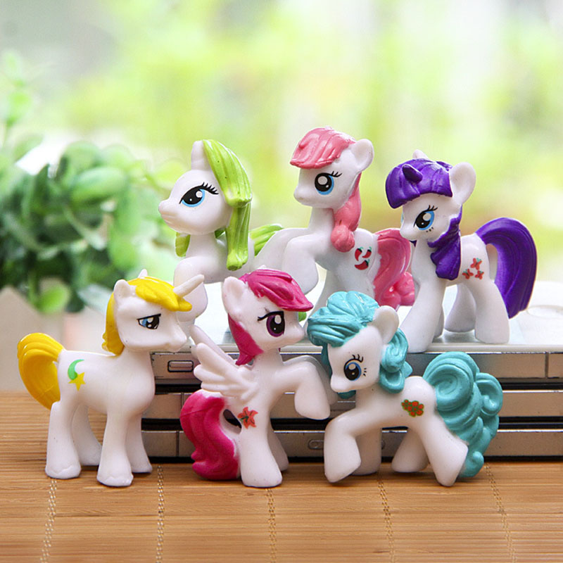 Hot! 6pcs/lot 3-5cm my cute lovely little horse mlp action figures poni doll toys for Children Funko POP Toys(China (Mainland))
