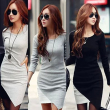 2015 Resuli 1PC Sexy Women Lady Long Sleeve Slim Bodycon Knit Sweater Party Dress Freeshipping Hot Sale(China (Mainland))