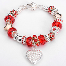 Free Shipping Silver Plated Jewelry Heart Charm Bracelet Murano Glass European Beads Bracelets Bezel Setting with Logo 8 Color(China (Mainland))