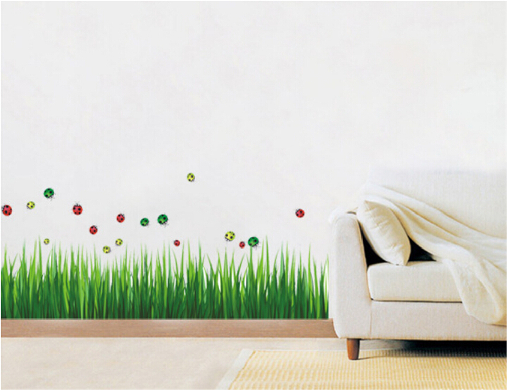 Buy green grass butterfly vinyl wall for Kids home decor