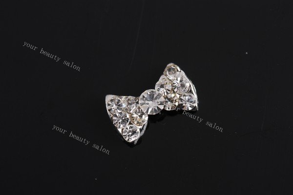 free shipping 10 pieces/bag) 3D silver bow tie Alloy AB white Rhinestone jelwery dress Nail Art iphone mobile Glitter Decoration