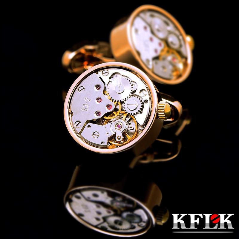 KFLK jewelry shirt cufflink for mens Brand cuff buttons watch movement cuff link  High Quality abotoaduras gemelos Free Shipping
