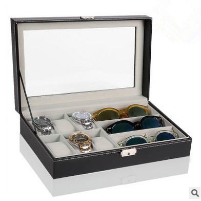 6 Piece Watch Case and 3 Piece Eyeglasses Storage Black Leatherette Combo Jewelry Box and Sunglass Glasses Display Case(China (Mainland))