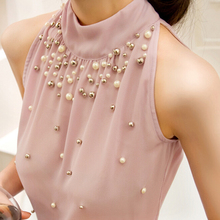 2016 New Women Summer Beading Chiffon Shirt Korean Fashion Sleeveless Women Chiffon Blouse Shirt Women Lace Tank Top S M L XL(China (Mainland))