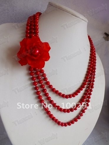 Best Hotsale!! Women Fashion Flower Jewelry Red Three Strand Coral Necklace