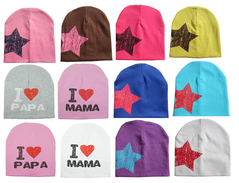 Cute baby beanie soft hat for boy girl Five-pointed star style cap 25 colors can choose English letters , I love mama / papa(China (Mainland))