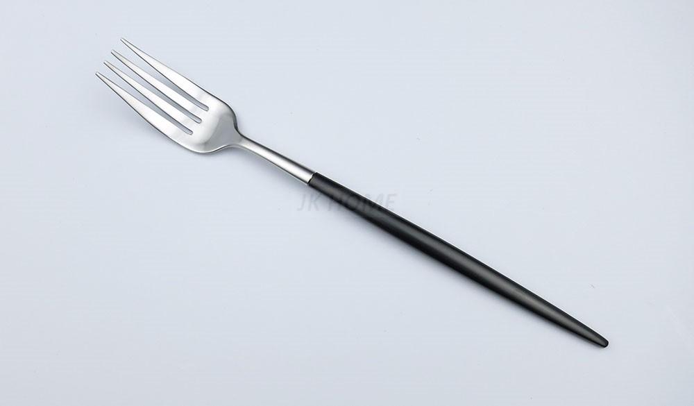 Buy JANKNG 24Pcs/ Lot Flatware Black Handle Stainless Steel Cutlery Matte Silverware Spoon Fork Knife Dinnerware Tableware for 6 cheap
