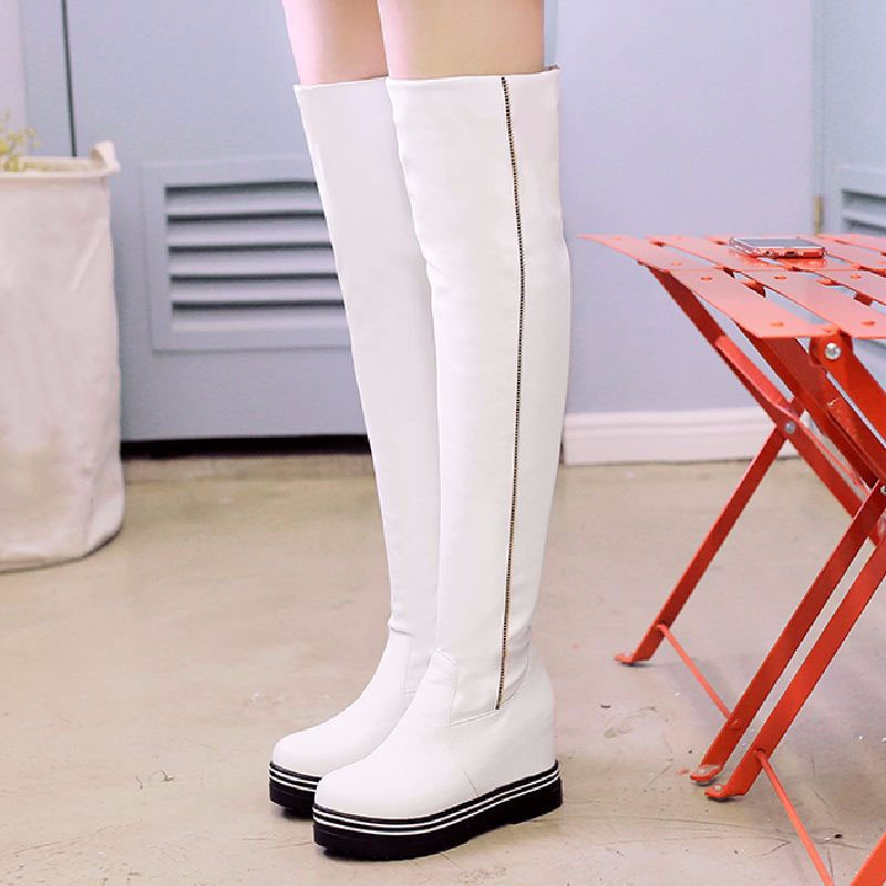 New 2016 Hidden Wedges Over The Knee Boots Simple Cool Knight Boots Long Winter Boots Platform Shoes Woman Large Size 34-43