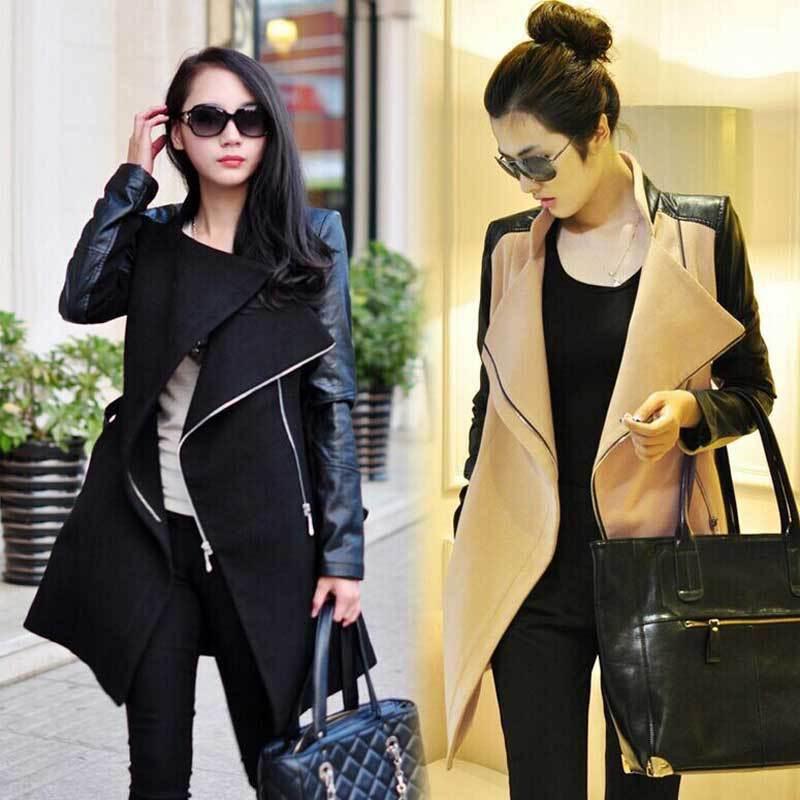 Leather Sleeve Coat Women