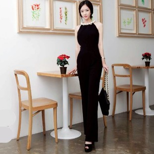2013 spring and summer ladies pearl queen of luxury halter-neck jumpsuit women sexy Siamese trousers Free Shipping(China (Mainland))