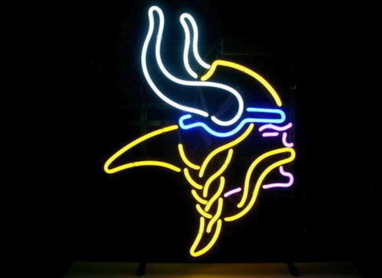 "Business Custom NEON SIGN board For Football NFL Minnesota Vikings REAL GLASS Tube BEER BAR PUB Club Shop Light Signs 15*14""(China (Mainland))"